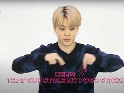 """BTS hand gesture """"pogo stick"""""""