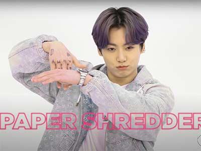 """BTS hand gesture """"paper shredder"""""""